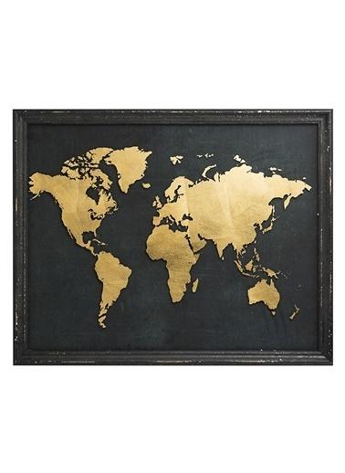 Warm Design Altın Folyo Kaplı Dünya Haritası Siyah
